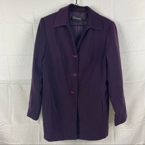 Stitches Plum Purple Long Sleeve V-Neck Button Down Trench Coat Size 12